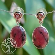 Rhodonit-Turmalin Silber Ohrringe Ovala Funkelchen