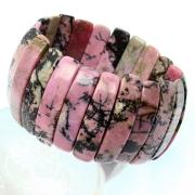 Rhodonit Armband 35mm breites Edelsteine Armband mit Psilomenan
