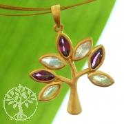 Baum des Lebens Anhänger Amethyst Mondstein Silber 925 Vergoldet