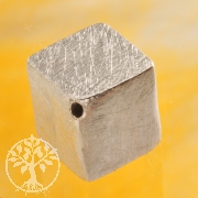 Cube Sterling Silver Bead 8 mm diagonal brushed