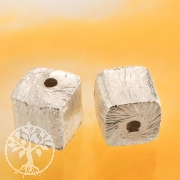 Würfel Silberperle 6 mm gerades Loch 925 Silber Würfelperle gebürstet