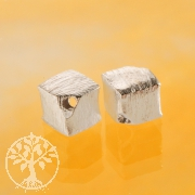 Cube Sterling Silver Bead 4 mm diagonal brushed