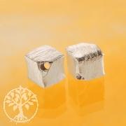 Würfel Silberperle 4 mm diagonal 925 Silber gebürstet