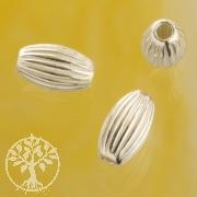 Silberperle Rillen Olive 4.0x3.0mm 925er Silber
