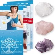 Wassersteine kleine Grundmischung Set je 1Rosenquarz, Bergkristall, Amethyst Rohstein mit Beutelchen