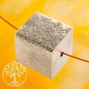 Würfel Silberperle 14 mm gerades Loch 925 Silber gebürstet