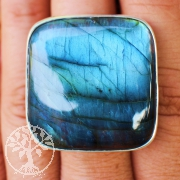 Labradorite ring AA silver ring size 62 with best labradorite stone in 925 silver