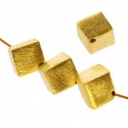 Goldperle, Würfelperle vergoldet gebürstet 6mm 925 Silberperle Diagonal
