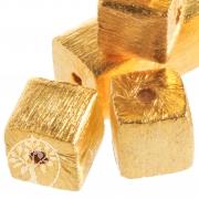 Gold Würfelperlen vergoldet gebürstet Silber 925 Perlen 6mm Mitte Loch