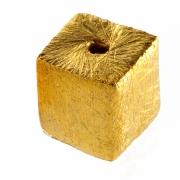 Würfelperlen vergoldet gebürstet Silberperlen 8mm Mitte Loch