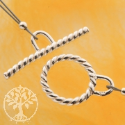Ring-Stab Verschluss Knebelverschluss 13/25mm gedreht 925er Silber