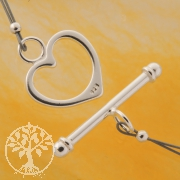 Toogle Clasp Heart Sterling Silver 925 20mm