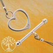 Herz Verschluss Knebelverschluss 15/25mm Silberverschluss 925 Ring Stab
