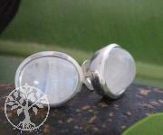 Rainbow moonstone stud earrings oval pair 9x11mm