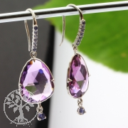 Amethyst Earrings Sterling Silver Rhodium plated faceted Kyanite