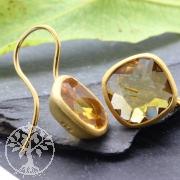 Citrin Ohrhänger Sterling Silber Vergoldet Facettiert Quadrat