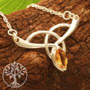 Citrin Silbercollier Gelbe Schwester mit facettiertem Citrin Edelstein Halskette Länge 45 cm Silber 925