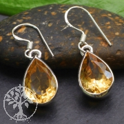 Citrine Earring Sterling Silver 925 10x30mm