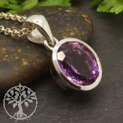 Amethyst Gemstone Pendant Circular 925 Silversterling 29x15 mm