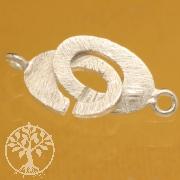 Ring-Ring Oval Verschluss 10x19mm Silber 925 gebürstet