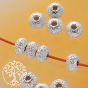 Kleine Silberperle Linse diamantiert 5mm Silber 925