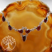 Granat Silbercollier 2 Silber925 mit Granatperlen
