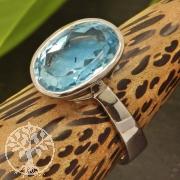 Blau Topas Ovale Silber 925 20X26mm Grösse 54