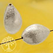 Silberperle Sarrasin gebürstet Längsperle Silber 925 16x10mm
