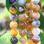 Achat Botswana Gelb, Perlen 12 mm mit Bänderung Achatperlen