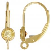 Klappbrisur Gold mit facettierten Citrin, Goldfilled 14K 1/20 anhängbar