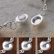 Magnetic clasp little ball 6mm, silver 925