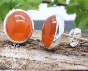 Karneol A Ohrstecker orange 9x11mm Silber 925 10x12mm