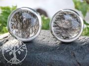 Turmalin Quarz Sterling Silber 925 Ohrstecker 9  mm Rund