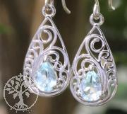 Topas Blau Ohrringe Nouveau 11x33mm Silber 925
