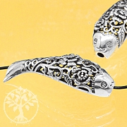 Silver Bead Flower Fish Sterlingsilver 925 13X42mm