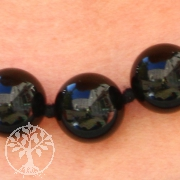 Schwarze Steinkette Onyx Kette schwarz / Obsidian ca. 60cm/8mm - Panther Kugelkette