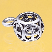 Silver Beads Charms Pendant Basket Sterlingsilver 925 6x11mm