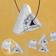 Riesige Silberperle Extro 925er Silber Dreieck Perle 14x17mm