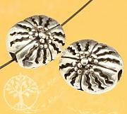 Silberperle Oval Gaysorn Blumen 12x10mm Sterling Silber 925 Loch 2mm