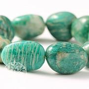 Amazonit Armband Trommelstein 20mm große Perlen