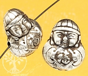 Silberperle China Junge Glück Sterling Silber 925 14x12mm