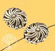 Silver Bead Flower Swirl Sterling Silver 925 13x10mm