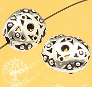 Silver bead rhombic eye Iris sterling silver 925 12x9mm