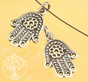 Silver pendant Hand of Fatima with flower Sterlingsilver 925 21x12mm