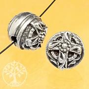 Silber Perle Duo Kreuz und Blume 925 11mm