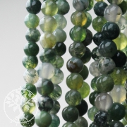 Moss agate gemstone beads 8 mm ball