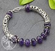 Amethyst Bracelet With Big Silverbeads 925 20cm