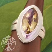 Zitrin Ring Silber 925 Citrin Silberring mit facettiertem Edelstein Grösse 51