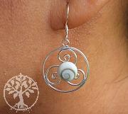 Earring Shiva Muschel Triskele Silver 925 35x20mm