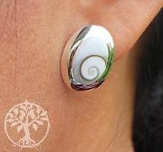 Ear Stud Shiva Oval Sterlingsilver 925 17X13mm